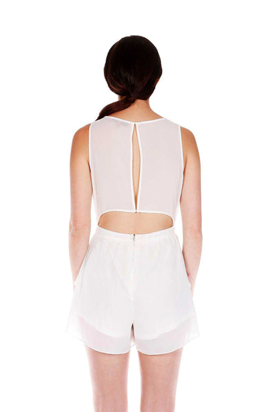 Naughty Grl Round Neck Romper With Zipper - White - NaughtyGrl