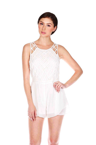 Designer inexpensive online boutique for women - Naughty Grl Round Neck Romper With Zipper - White - NaughtyGrl