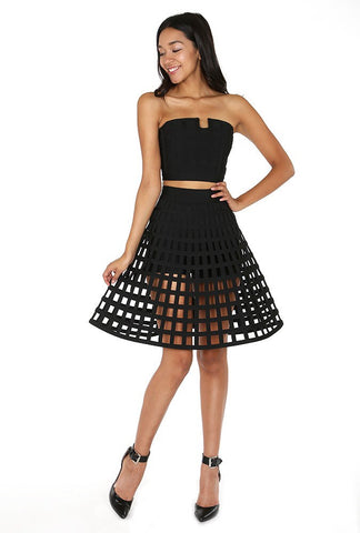 Designer inexpensive online boutique for women - Naughty Grl Caged Skirt With Flare - Black