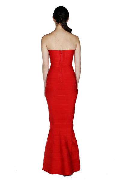 Naughty Grl Elegant Mermaid Tube Bandage Maxi Dress - Red - NaughtyGrl