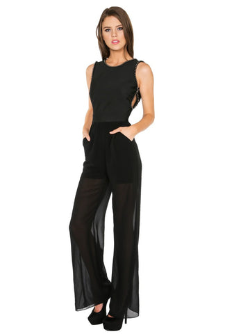 Designer inexpensive online boutique for women - Naughty Grl Sophisticated Evening Jumpsuit - Black - NaughtyGrl