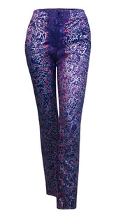 Metallic Purple Jacquard Trousers