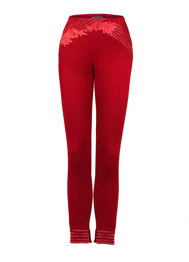 Women Trousers, Ruby Red Skinny Trousers
