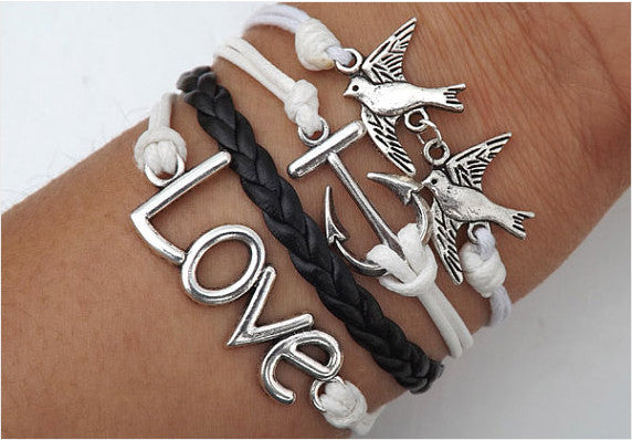 Birds Anchor Love Heart telesthesia Bracelet,Bracelets,Hipsters jewelry,Bracelet,Black braided bracelet,Couples bracelet,lover bracelets,bangle bracelet,,leather bracelet,charm bracelet,white wax rope Bracelet