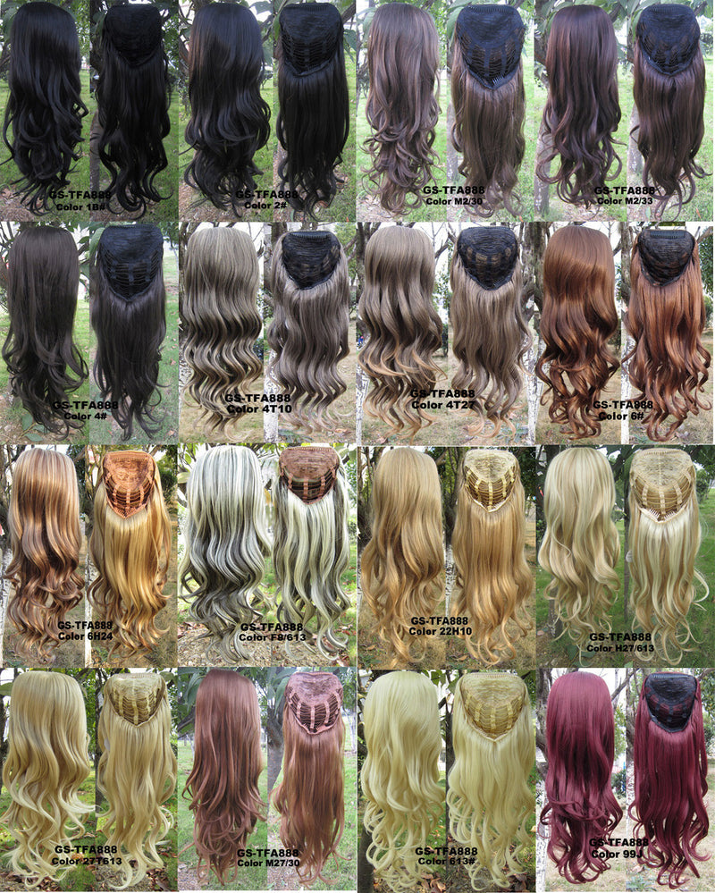 17 Colors HOT 3/4 Half Long Curly Wavy Wig Heat Resistant Synthetic Wig Hair 200g 24