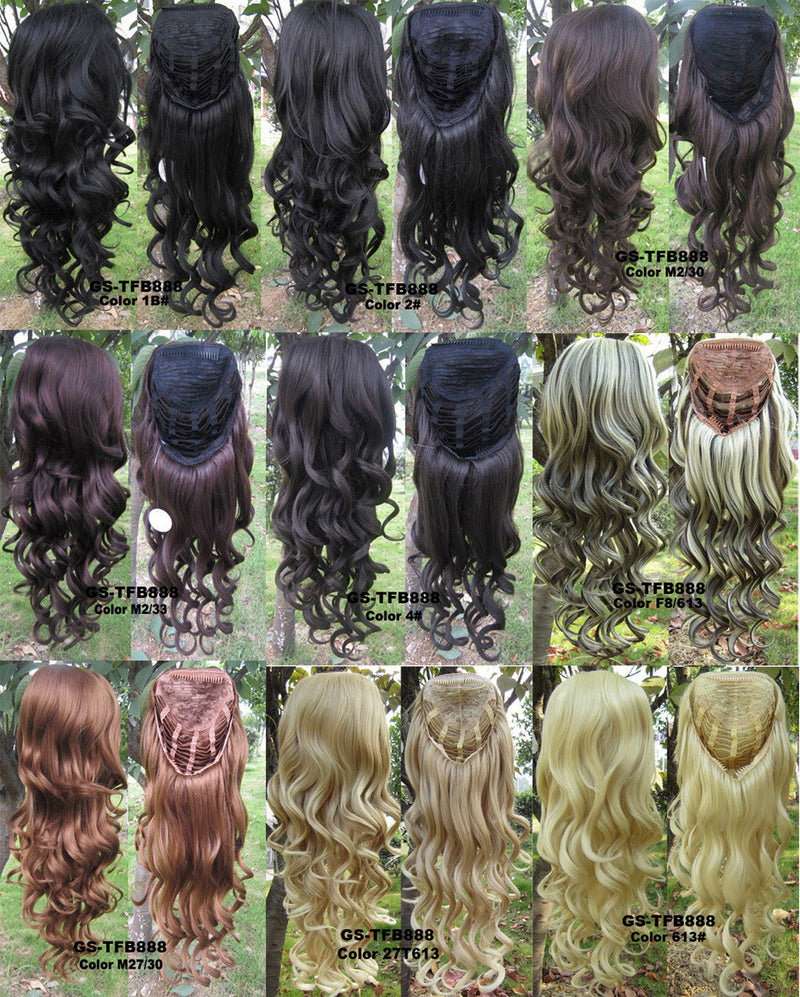 10 Colors HOT 3/4 Half Long Curly Wavy Wig Heat Resistant Synthetic Wig Hair 200g 24