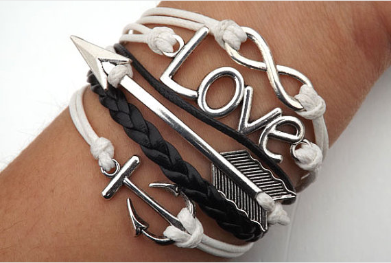 Anchor Arrow infinity Love Bracelet,Bracelets,Hipsters jewelry,Bracelet,braided bracelet,Couples bracelet,lover bracelets,bangle bracelet,,leather bracelet,charm bracelet,Black braided bracelet