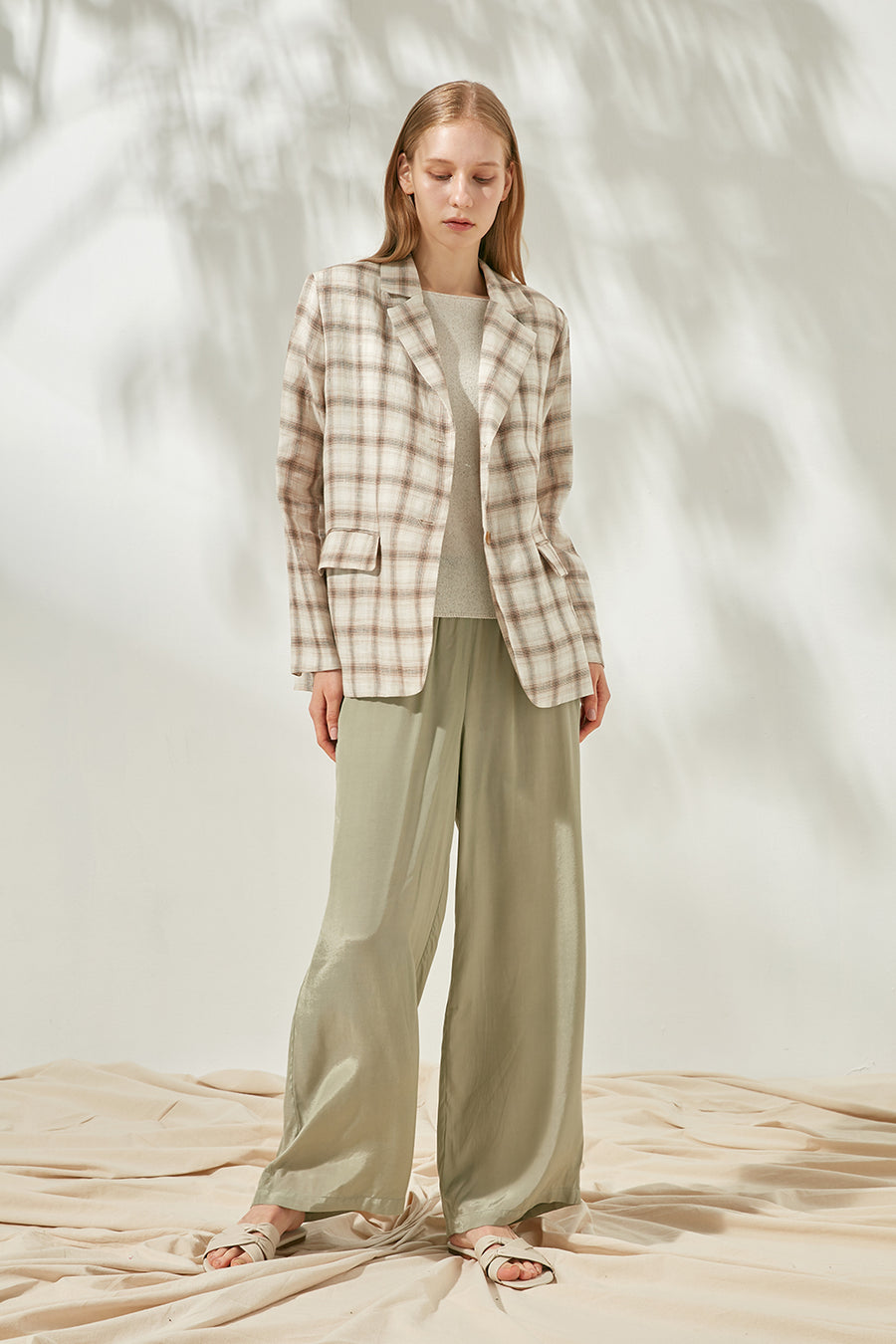 Checked linen blazer - Zelle Studio
