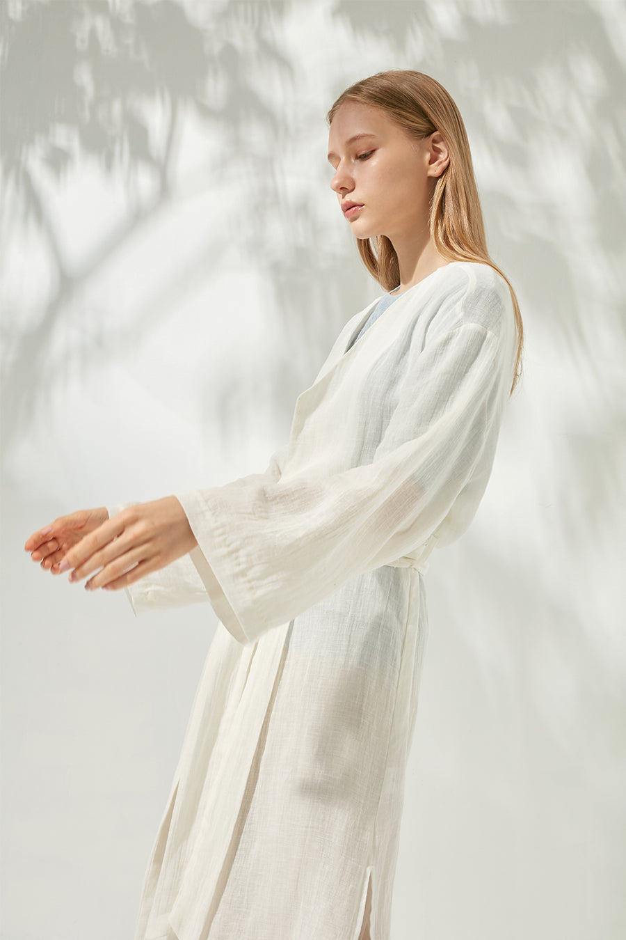 Oversized sheer linen coat