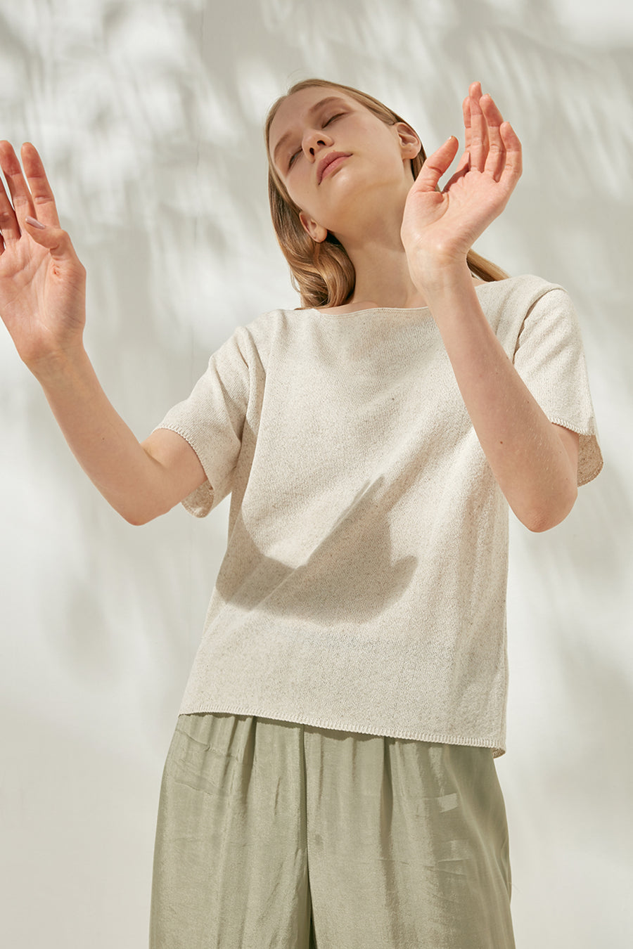 Melange short-sleeve jumper