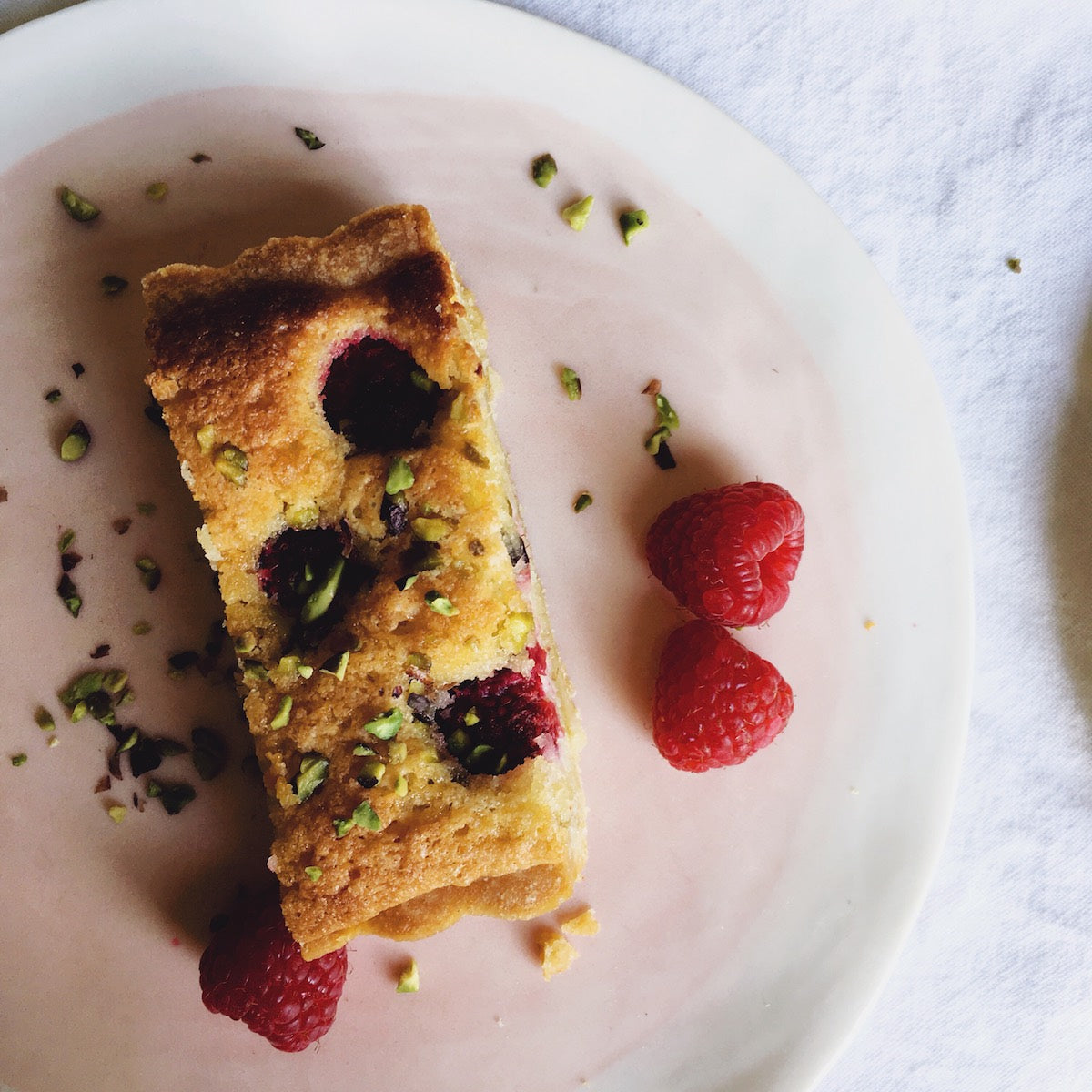 Frangipane Tart with Raspberries & Pistachios from Bronte Recipe