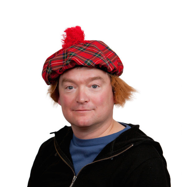 Scottish Party Hat with Brown Hair Wig