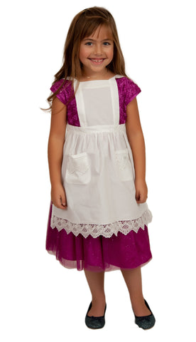 Deluxe Girls Victorian Lace Costume Full Apron Beige Ages 2-8