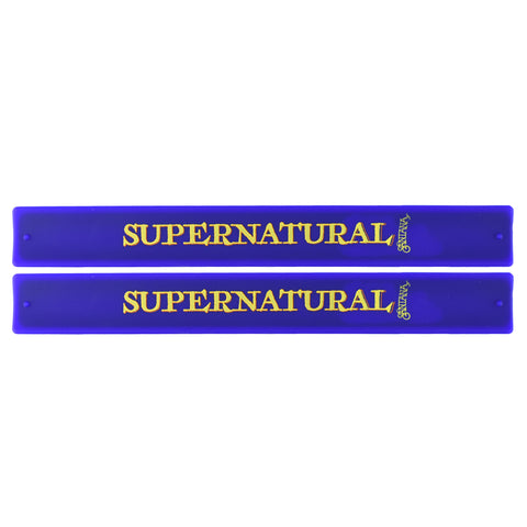 Santana Slap Bands 2 Pack Purple w/Supernatural Yellow and Orange Graphic
