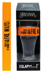 Santana Slap Band Glassware - Single Pack Slap Band Glassware -  Orange Slap Band w/Black Evil Ways Graphic