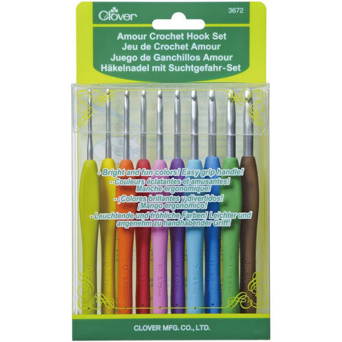 Clover Amour Soft Grip Crochet Hooks - Set of 10 (2.25 - 6.00mm)  | KNITTING CO. - 1