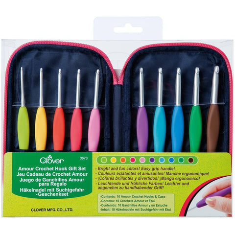 Clover Amour Soft Grip Crochet Hooks - Set of 10 w Case (2.25 - 6.00mm)  | KNITTING CO. - 1