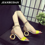 JIANBUDAN Female high-heeled sandals 2016 summer new fashion personality shaped with open-toed sandals woman shoes wild Office - Raja Indonesia