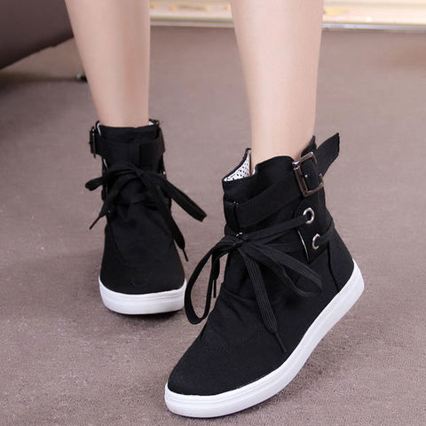 35-41 Black Gray Round Toe Platform Casual High-top Canvas Shoes Woman Lace Up Shoes Student Flat Ankle Boots Botas Mujer O098 - Raja Indonesia