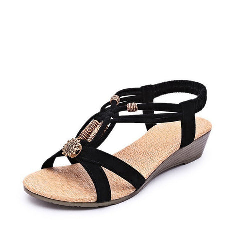 HEE GRAND Women Sandals Summer New Vintage Style Gladiator Platform Wedges Shoes Woman Beach Flip Flops Bohemia Sandal XWZ591 - Raja Indonesia