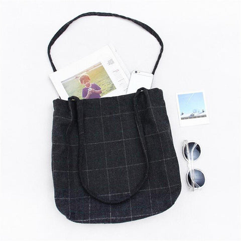 New Fashion Black Gray Plaid Women Shoulder Handbag Woman Messenger Bag Ladies Tote bag - Raja Indonesia