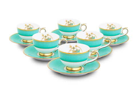 Spring in Udaipur Tea Cups and Saucers (Set of 6),[product_collection],Nishita Fine Dinnerware, - Artisera