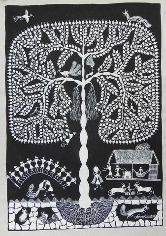 Warli - Untitled 03,[product_collection],Must Art,Anil Chaitya Vangad - Artisera