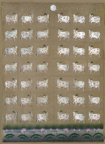 Cows In Silver Leaves,[product_collection],Artisera Pichwai, - Artisera