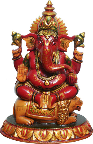 Painted Wooden Ganesha,[product_collection],La Boutique, - Artisera