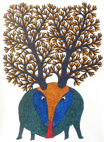 Gond - Untitled 32,[product_collection],Must Art,Gareeba Tekam - Artisera