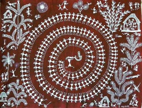 Warli - Untitled 28,[product_collection],Must Art,Balu Jivya Mashe - Artisera