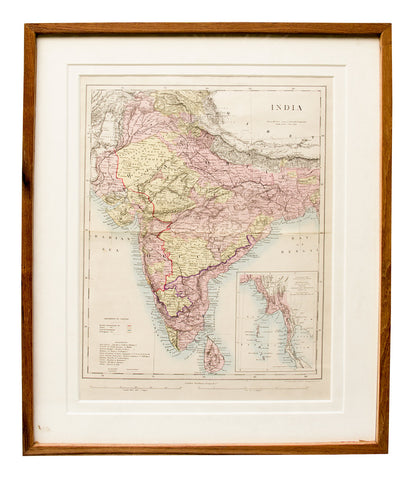 Map of India, Ceylon and Burma, 1850