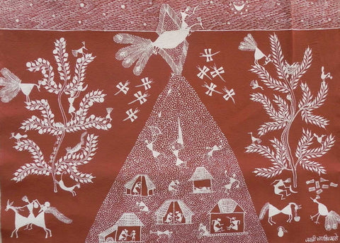 Warli - Untitled 24,[product_collection],Must Art,Jai Shree Sadashiv Mashe - Artisera