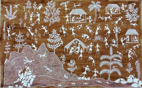 Warli - Untitled 15,[product_collection],Must Art,Sunita Sadashiv Mashe - Artisera