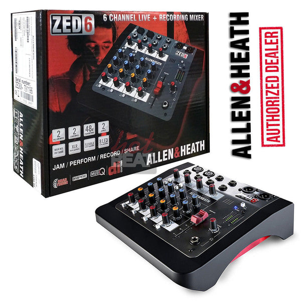 Allen & Heath ZED-6 ZED6 Compact Analog Mixer 6938122242951 48V Phantom 110-240V