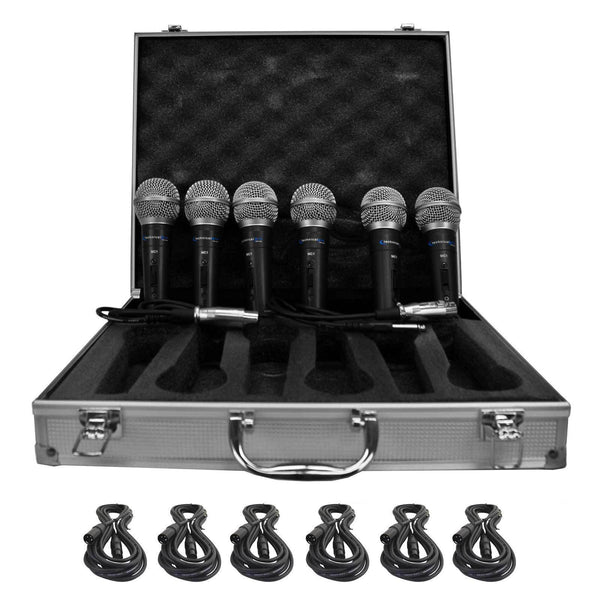 Technical Pro MCZ6PACK 6 Wired Microphones with Digital Processing Set & Cables
