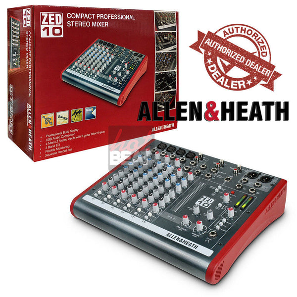Allen & Heath ZED-10 4 Mono Mic/Lines w/ 2 Active D.I. and 3 Stereo Line Inputs