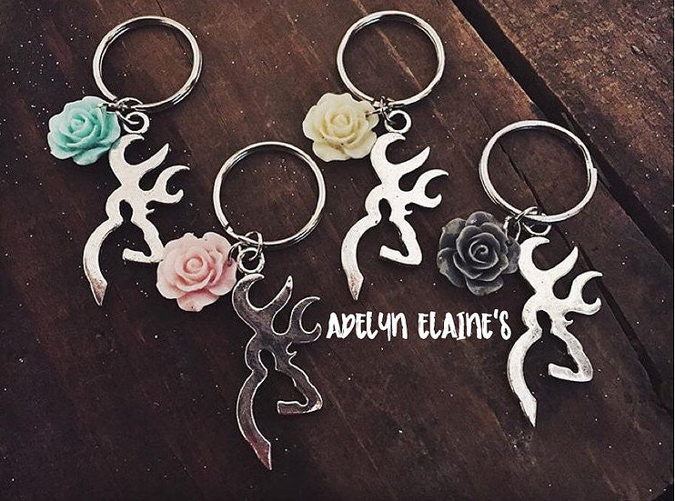 Buck and Flower Keychain