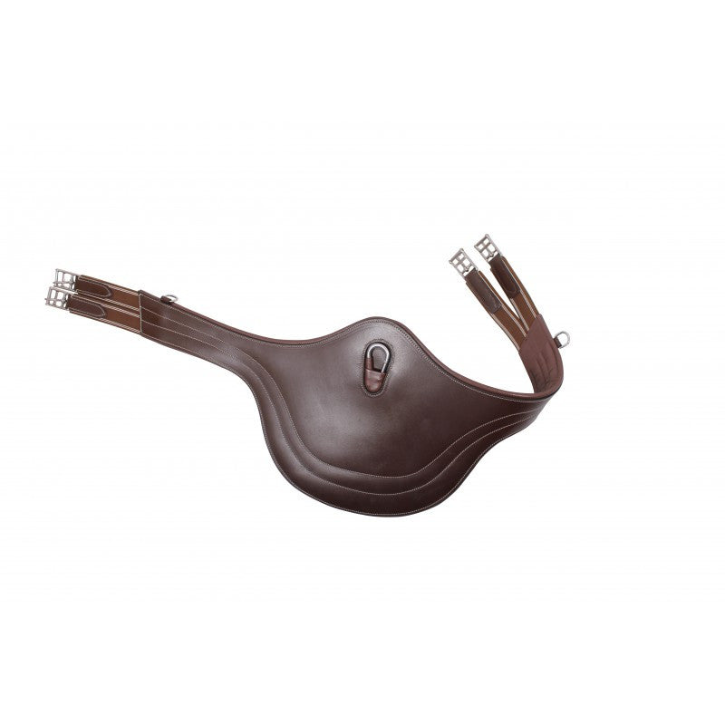 QHP Belly Guard Girth with Luxury Stitching 95 / Darkbrown - Eqclusive  - 1