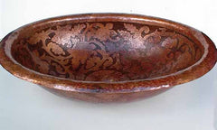 Oval Copper Bathroom Sink w/ Flowers