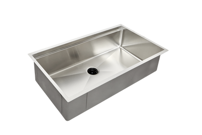 "33"" single bowl ledge sink with center drain"