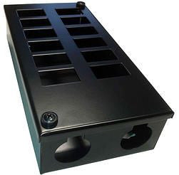 Horizontal 12-way Data Box-12 x 6C data cut-outs in 2 x 6 rows & 2 x 32mm gland holes