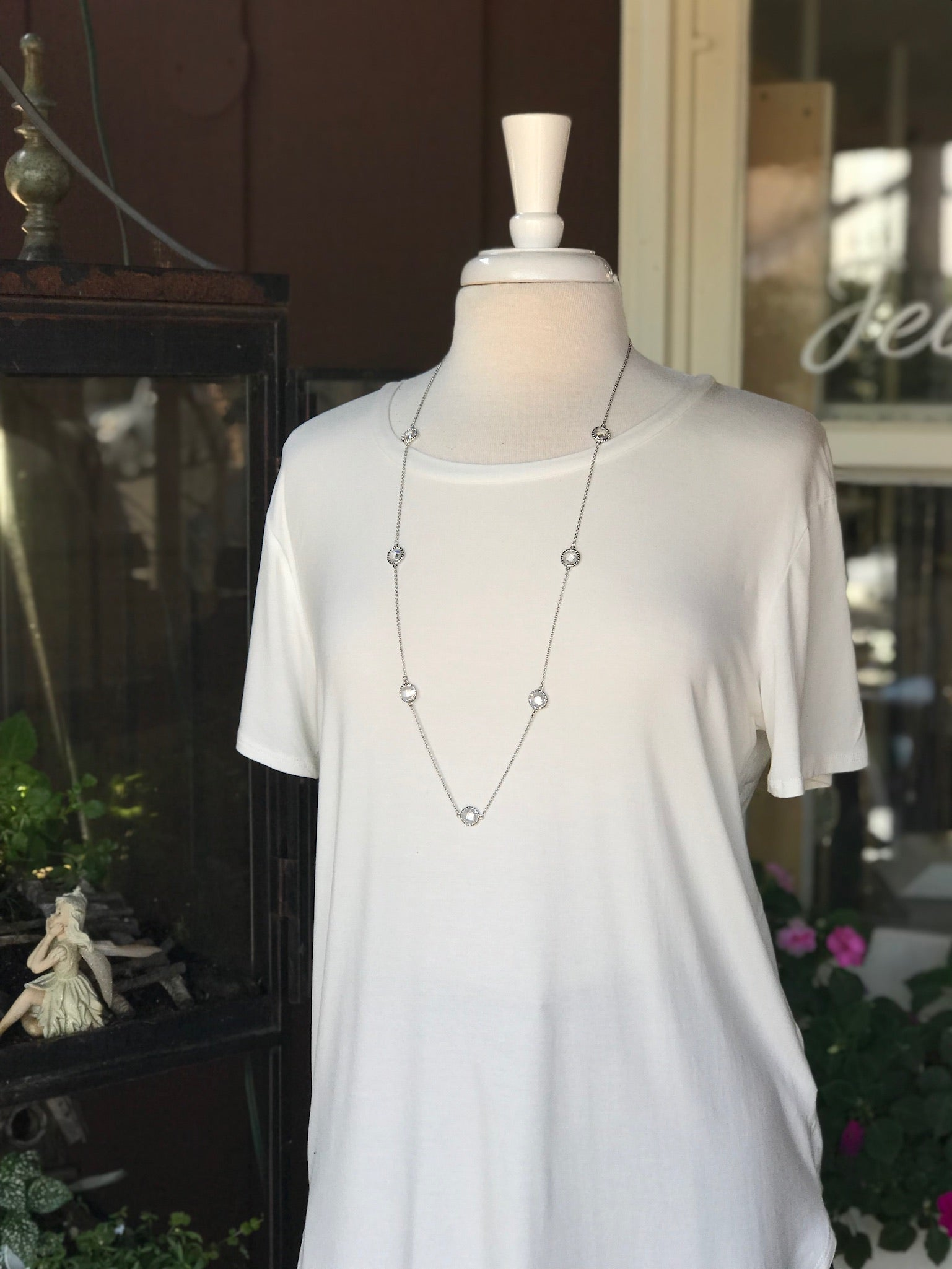 Alaina Long Silver Necklace with crystal pendants