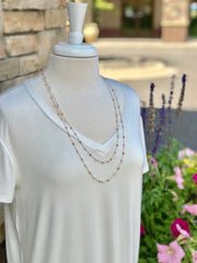 Long Gold Naomi Necklace With Pearls and Light Beads