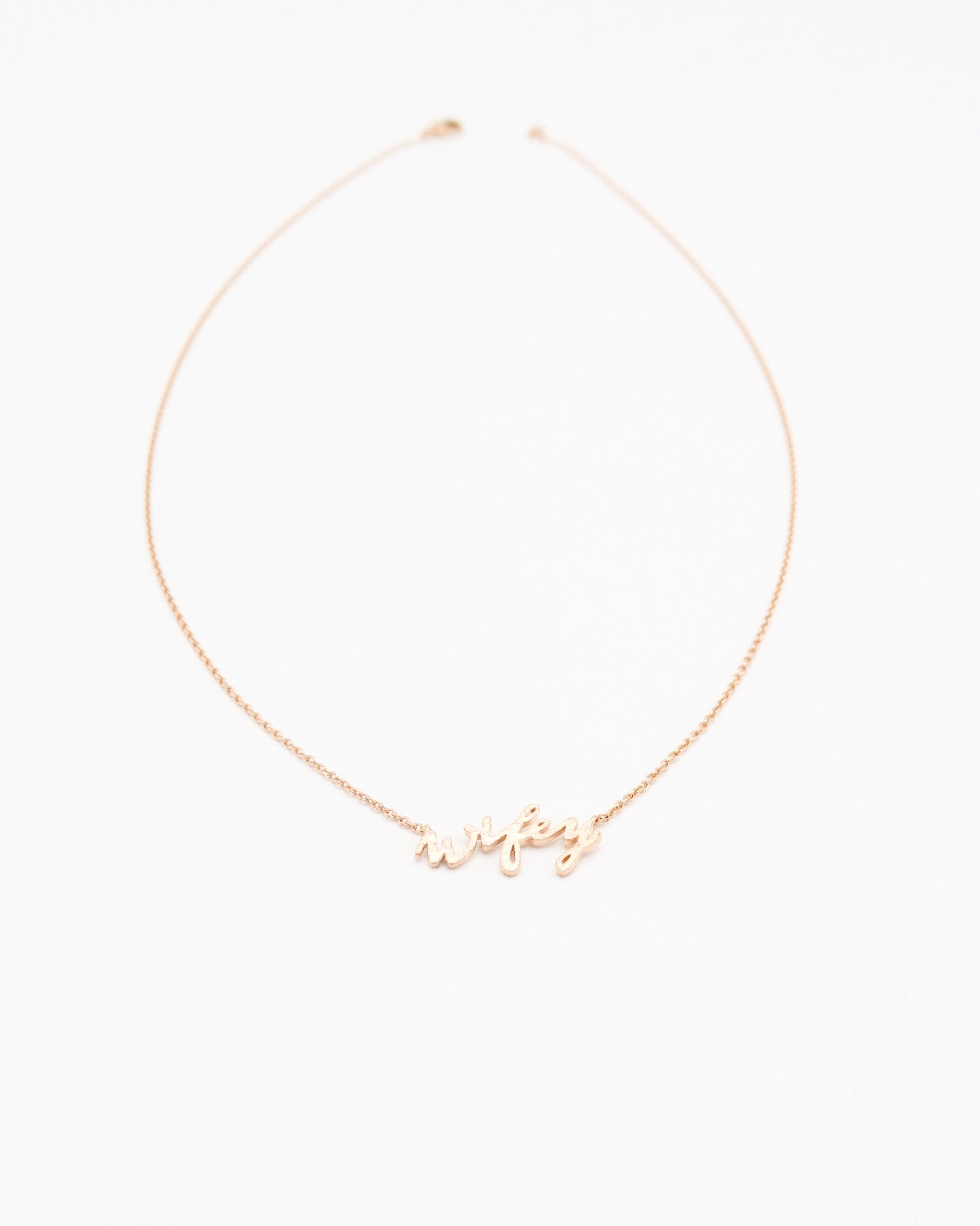 Wifey Word Necklace in rose gold