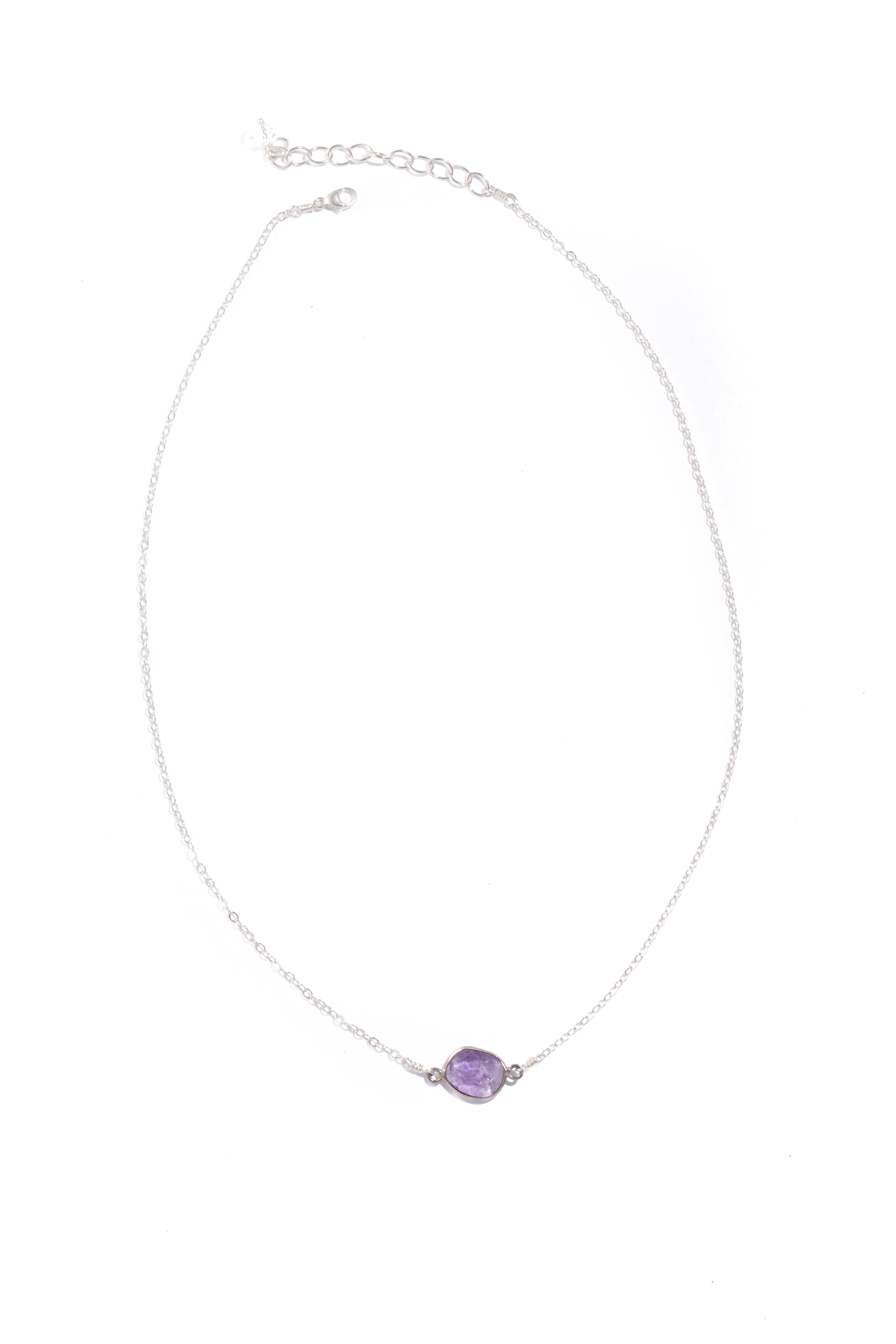 nina halls 'Dublin' Necklace with Amethyst in Silver Plated Over Brass
