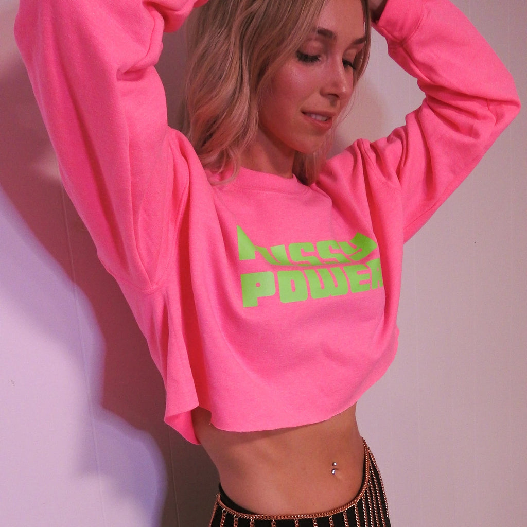 "The ""PUSSY POWER"" Oversized Cropped Sweatshirt"