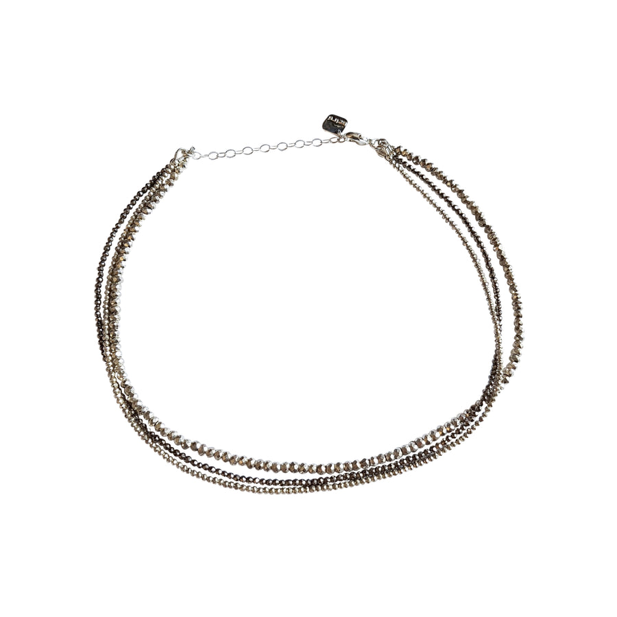 "The ""Strapped"" 3 Layer Gemstone Choker in Silver"