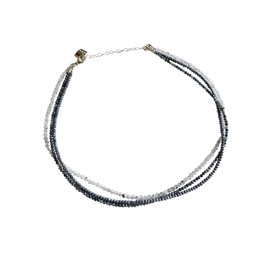 "The ""Strapped"" 3 Layer Gemstone Choker in Blue"