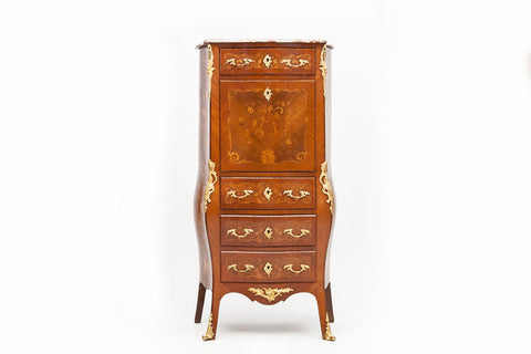 A LATE 19TH CENTURY FRENCH INLAID BURR WALNUT BONHEUR DU JOUR - REF No. 3001